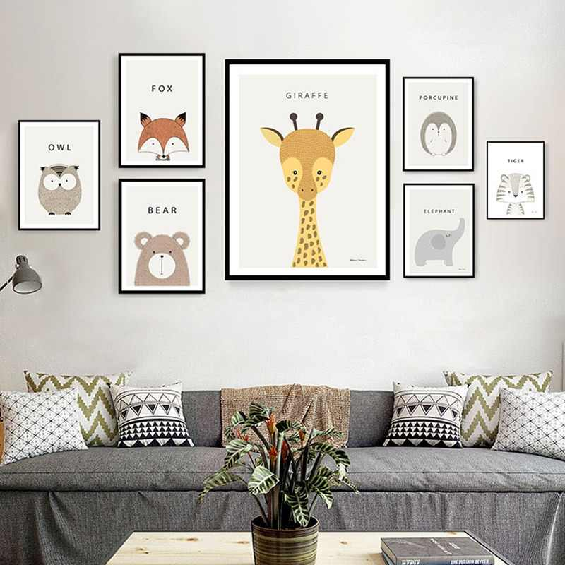 Nordic Cute Animal Lion Bear Fox Decorative Painting Children Room Decoration Picture Nursery Wall Art Poster and Print