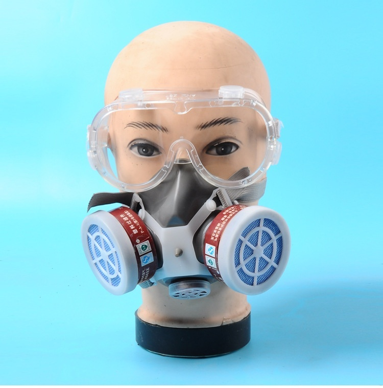 Dual Valve Protective Respirator Mask Full Face Anti-Dust Respirator Filter Paint Spraying Industrial Chemical Gas Mask