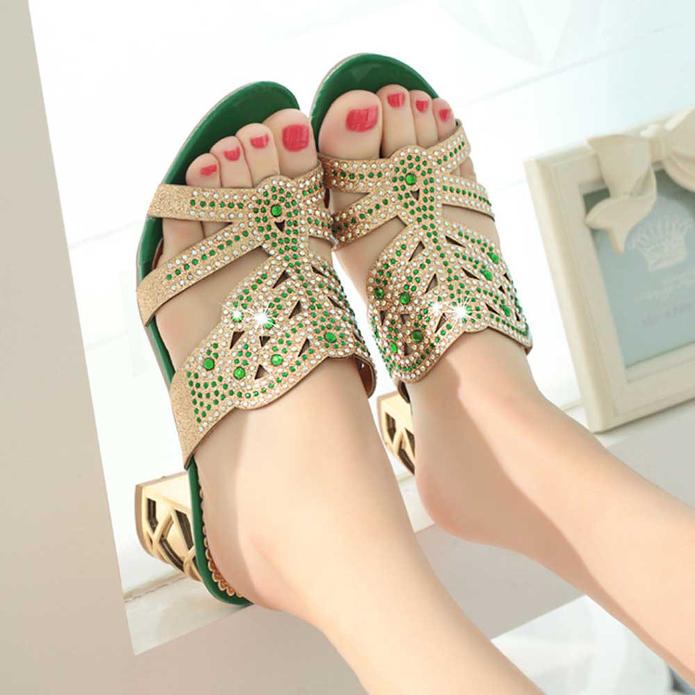 SAGACE 2018 Summer Open Toe Chunky Heels Women Sandals Leather Rhinestones Party Shoes Girls Crystals Casual Beach Flip Flops