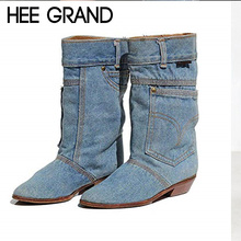 HEE GRAND Women Fashion Boots Denim Material Boots Slip-on Mid-calf Bootie Waterproof Warm Footwear Shoes Mujer Booten XWX7151