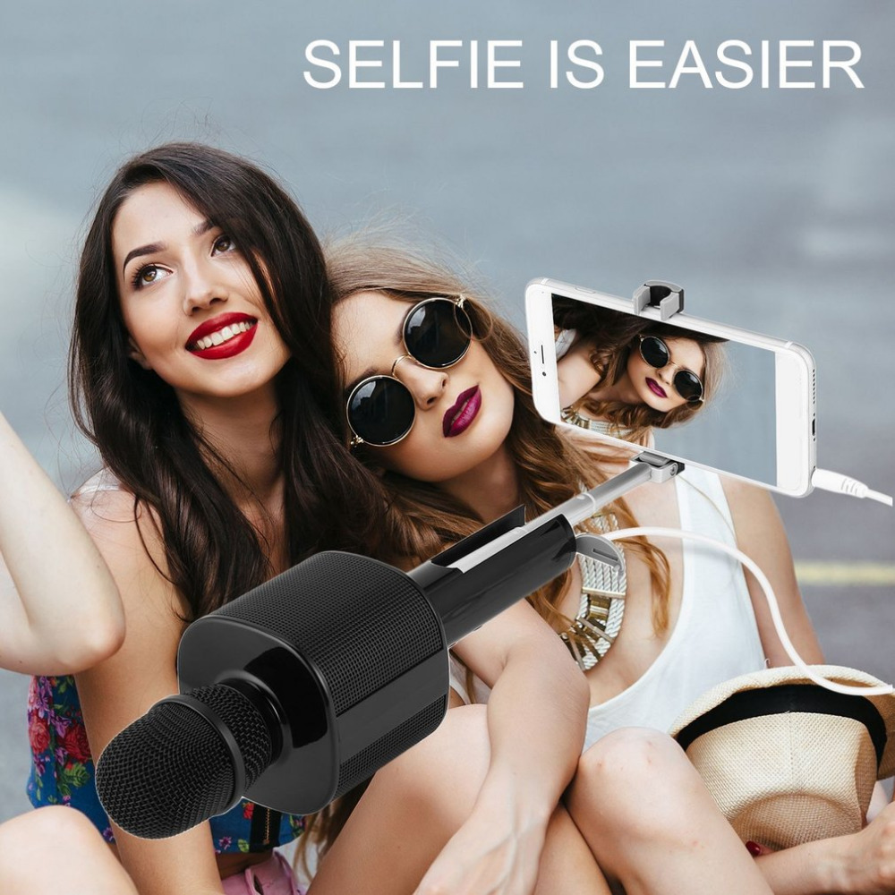 2 in 1 Selfie stick Wireless Bluetooth Karaoke Microphone Portable Handheld Karaoke Mic Speaker Machine Singing Hosting KTV 2018 цена