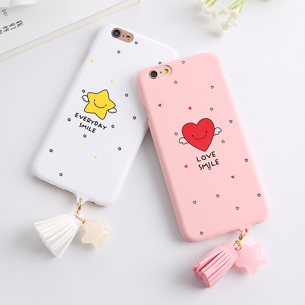 Drop Shipping Cute Smile Cartoon Case For iphone 7 Fashion Tassel Pendant Phone Cases Funny