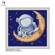 Moon Landing Patterns Aida Cross-stitch Kits DMC Cotton Thread Canvas 11CT 14CT Embroidery Set Wholesale DIY Handmade Crafts
