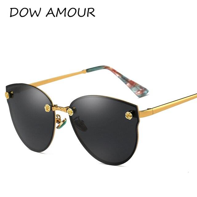 DOW AMOUR 2017 Polarisées Mode Cat Eye lunettes de Soleil Hommes Femmes  Lunettes de luxe UV400 ead0b2016300