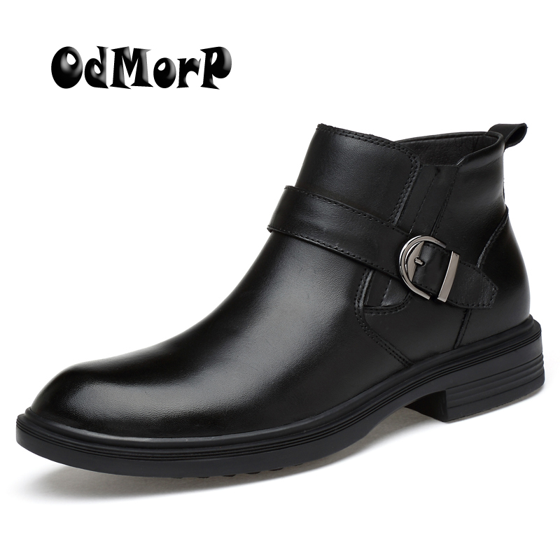 ODMORP Men Leather Boots Black Fashion Ankle Boots Keep Warm Fur Winter Shoes Botas Plus Size 46 Casual Dress Shoes Booties Men мопассан г де аудиокн мопассан жизнь новеллы 2cd
