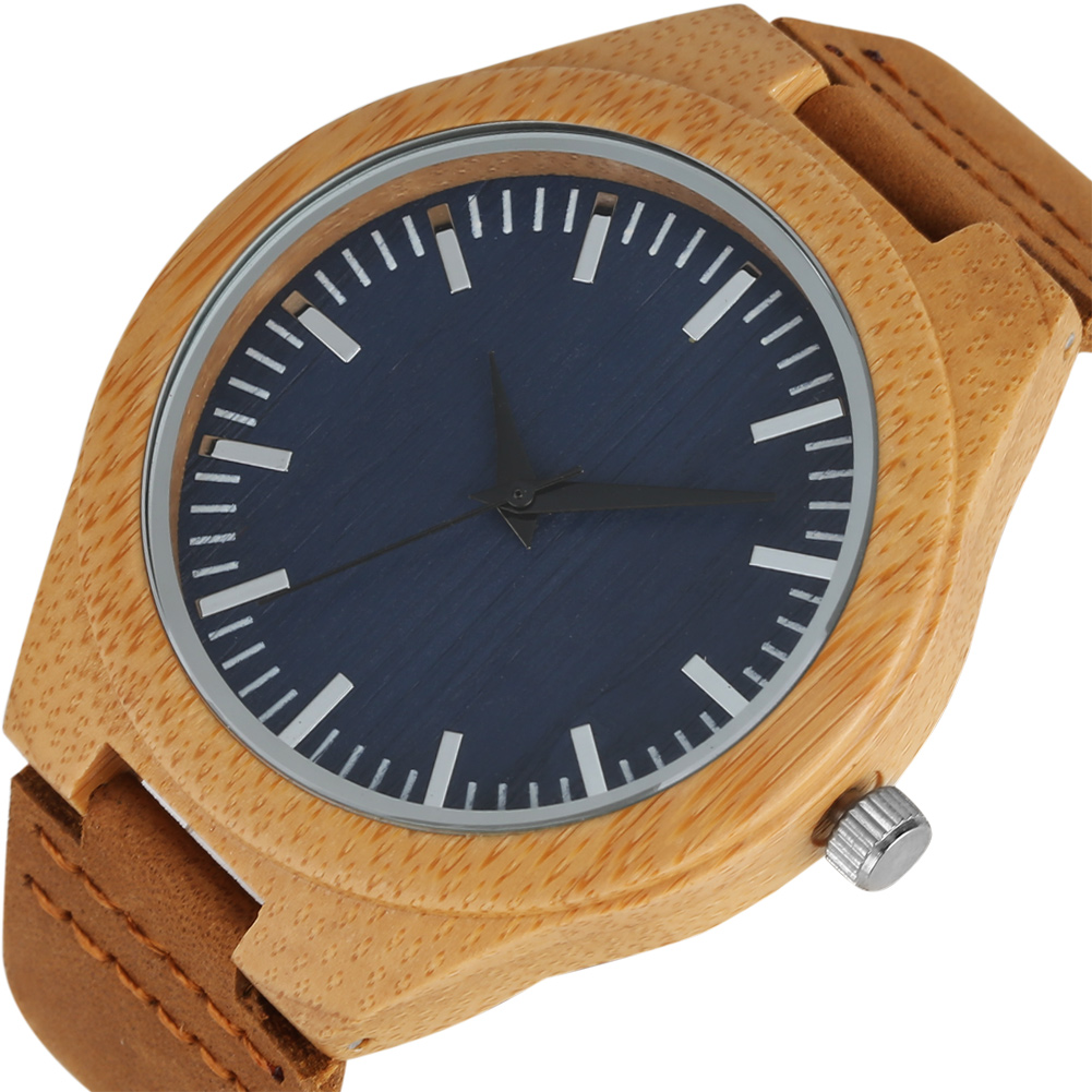 Minimalist Wooden Watch Quartz Mens Watches Natural Bamboo Men Wristwatch Genuine Leather bamboo Watch for Men Trendy Clock Gift simple casual wooden watch natural bamboo handmade wristwatch genuine leather band strap quartz watch men women gift page 4