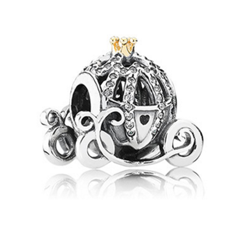 2015 new 925 sterling silver cinderella pumpkin cart charms with gold crown & cz fits European diy charm bracelet