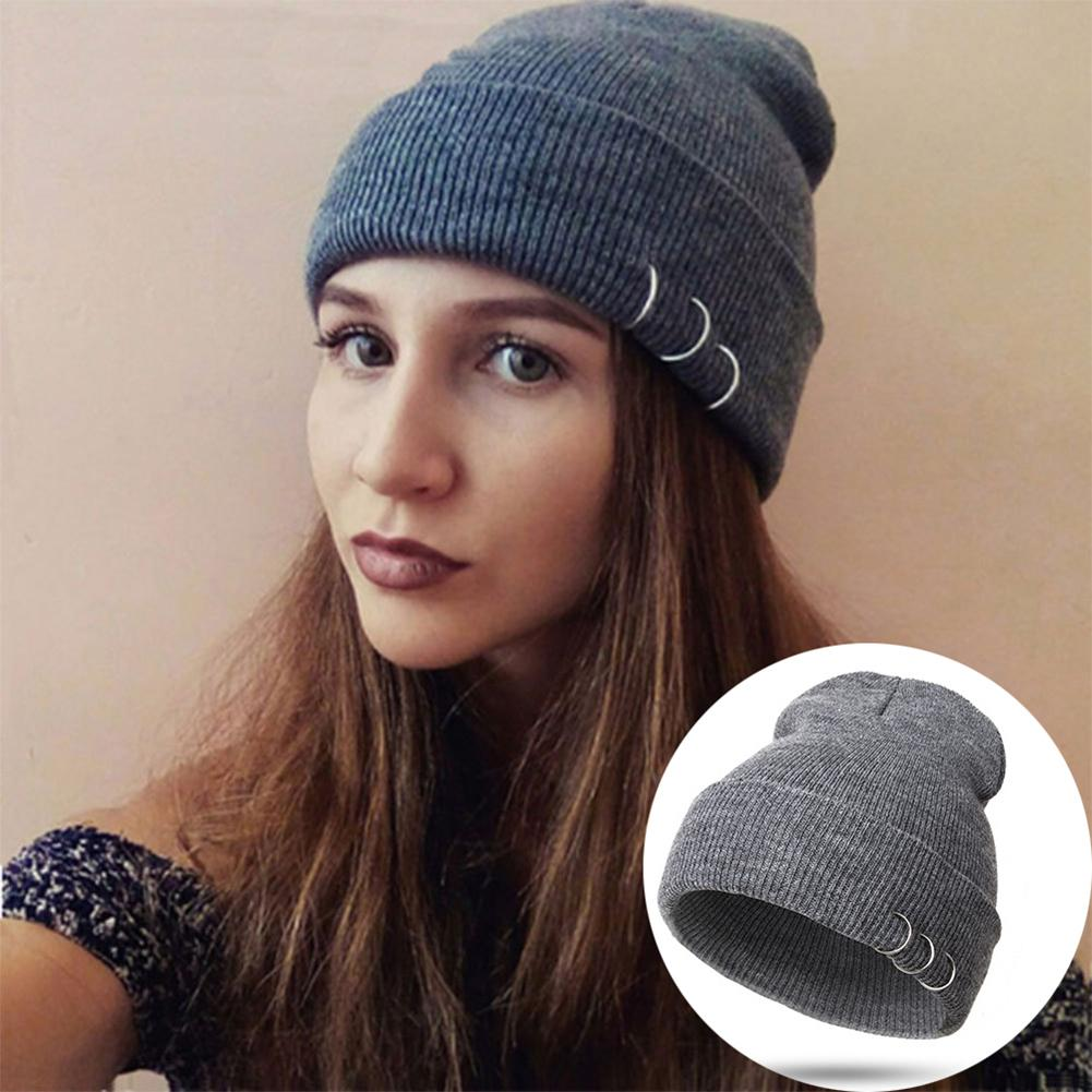 Metal Ring Winter Hat Warm Knitted Outdoor Women Knitting Skullies Beanies Cap