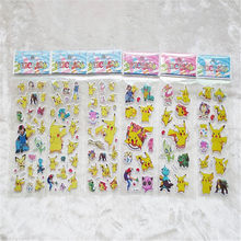 6pcs 3D Anime Cartoon Unicorn Stickers for Kids Rooms Home Decor Diary Notebook Label Decoration Toy Pikachu Bubble Pegatinas(China)