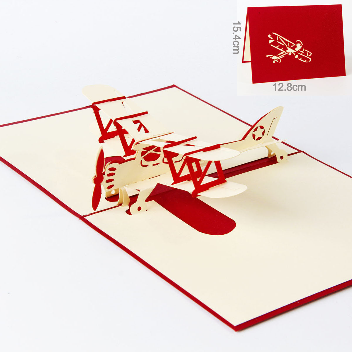 1 PC 3D Stereo Plane Carving Paper cut Birthday Card Free Shipping ...