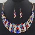 Sistemas de la joyería de La Manera Rhinestone de Acrílico Cristalino Geométrica Gargantillas Collares Pendientes Colgantes Cortos Joyería Set For Women X023