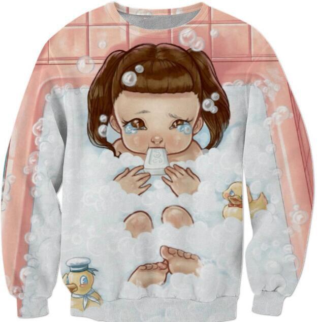 Women/Men Clothing Casual Style Sweats Melanie Martinez Bubbles Sweatshirt Cartoon Printed Crewneck Tees