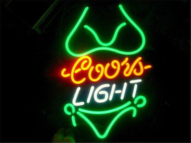 Neon sign for coors light green bikini signboard real glass beer bar neon sign for coors light green bikini signboard real glass beer bar pub display restaurant shop aloadofball Choice Image