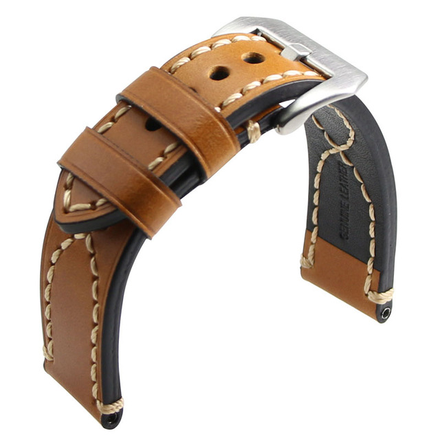 ZLIMSN Men's Genuine Leather Watchband 20 22 24 26mm Watch Band Strap Suitable for Panerai Wristbelt Stainless Steel Pin Buckle