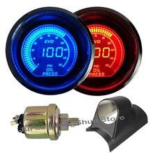цена на 2 52mm Oil Pressure Gauge Psi Blue Red LED Light Universal 12V Car Press Digital Meter Tint Lens + Left Hand Drive Pod Holder