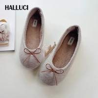 HALLUCI Khaki Knitted Bow Knot Short Plush Pantufa Home Slippers Women Shoes Soft Chinelo Zapatos Mujer