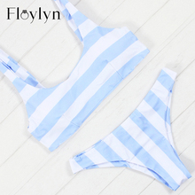 Floylyn White Blue Striped Bikinis Women Padded Swimwear Female Bandage Push Up Swimsuits 2017 Hot Sexy Swimming Suit Monokini