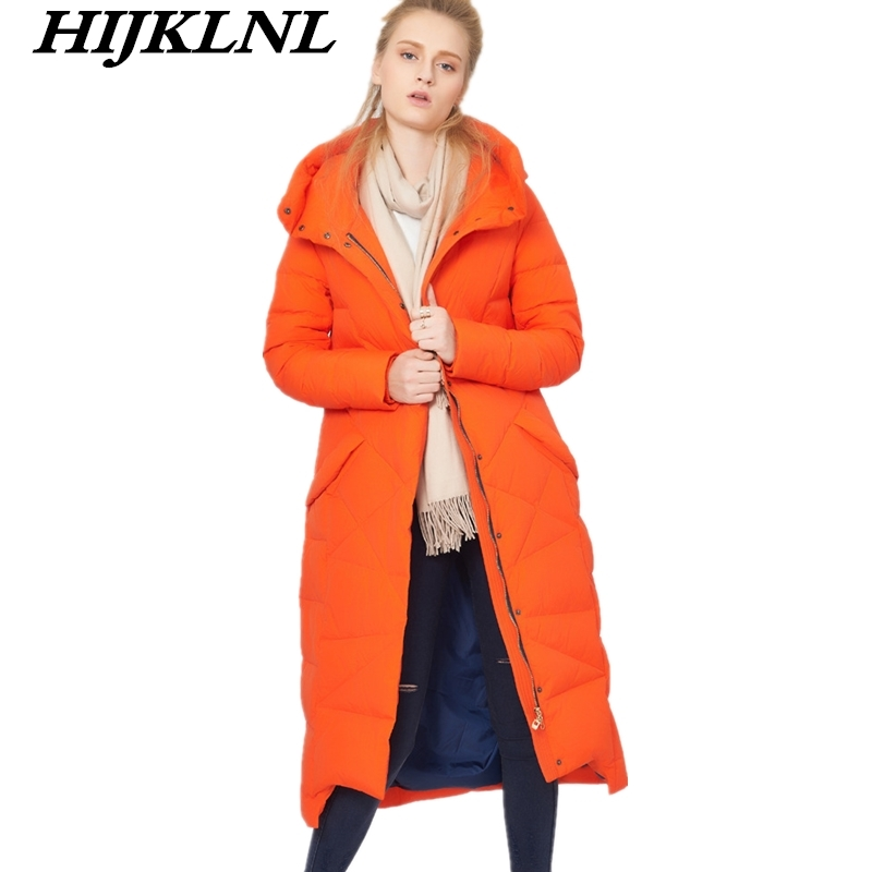 2019 Women Winter   Down     Coat   Slim Large Size Hooded Long   Down   Jacket Women Temperament Thicken   Coat   Fashion Warm Outerwear CW075