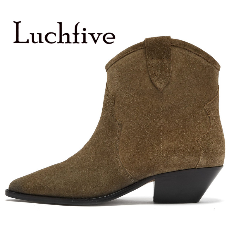 2018 Newest Roman  Suede Ankle Boots women slip on pointed toe Square kitten Heels  Retro short boots for woman 2018 Newest Roman  Suede Ankle Boots women slip on pointed toe Square kitten Heels  Retro short boots for woman