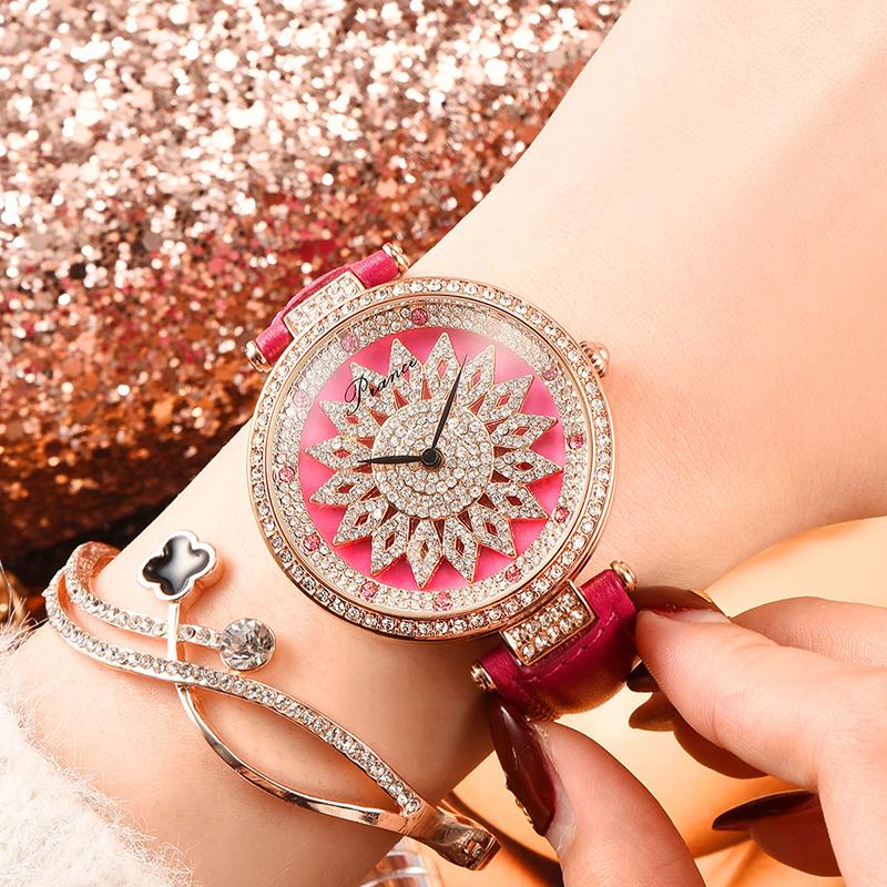 2019 Popular Rotating Zircon Flower Watch Fashion Delicate Wirst Quartz Watch for Women Gift