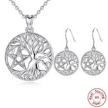 Eudora gümüş takı seti kadınlar için Pentagram hayat ağacı kolye 925 ayar gümüş hayat ağacı ve yıldız damla küpe seti