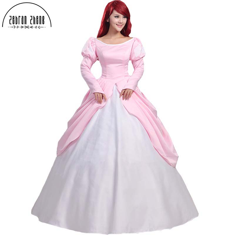 The Little Mermaid Princess Ariel Pink Dress Cosplay Costume For Adult Women Halloween Party Custom Made Free Shipping