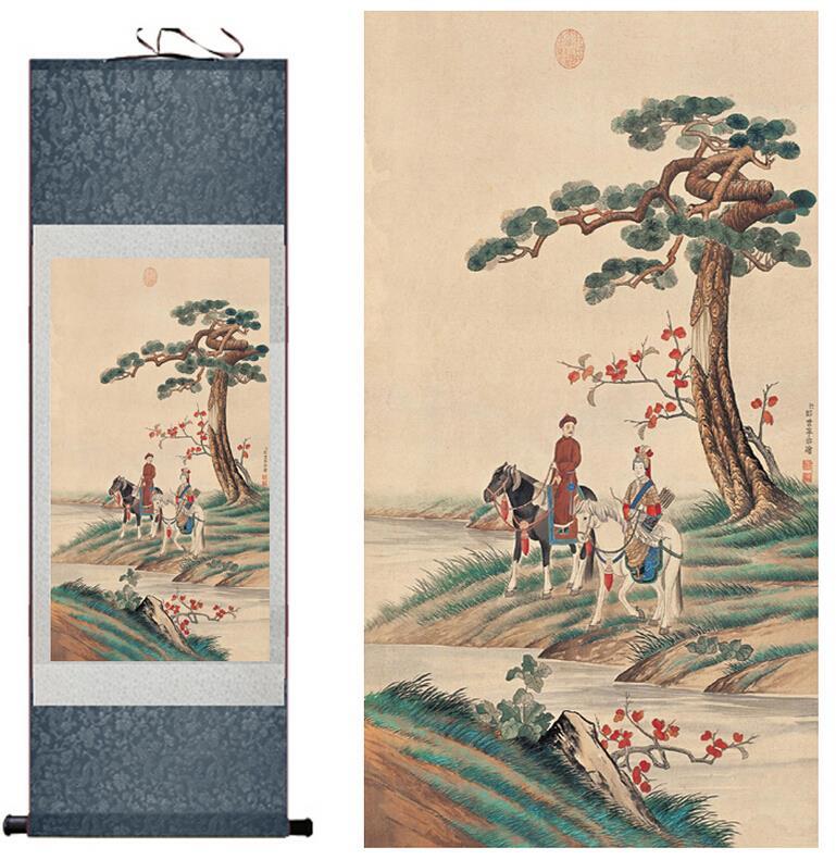 전통 실크 아트 그림 왕의 스포츠 중국어 예술 그림 홈 오피스 장식 중국어 회화