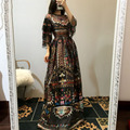 Повседневная Дизайнер Dress 2017 Весна Европа Новая Мода Ретро Печати Половина Рукава Длиной до пола Тонкий Черный Длинные Dress