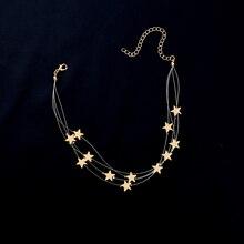 Милое ожерелье-чокер с подвеской в виде звезд и кисточкой, многослойное ожерелье с медной цепочкой, Женские аксессуары, подарок для девушки