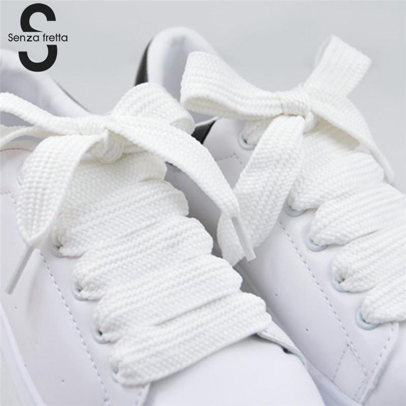 Senza Fretta 1pair Shoes Shoelace Double Layer Wide Shoelaces Fat Shoe Laces Shoelaces For Sneaker Sport Shoes Laces 120*1.5cm