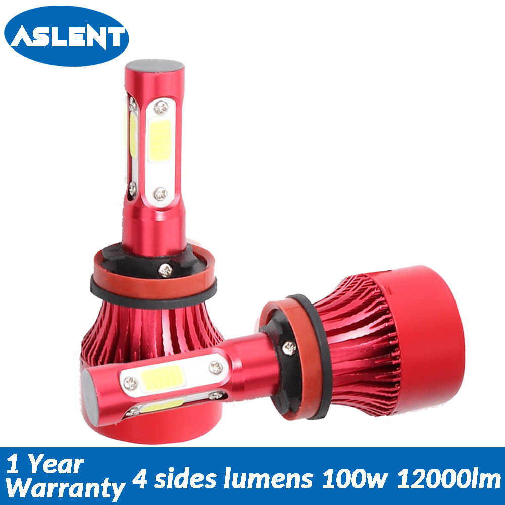 Aslent New 4 Sides Lumens COB 100W 12000lm LED H7 H4 H11 9005 9006 9004 9007 H13 Car Headlight Bulbs Auto Headlamp Light 12v 24v