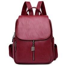 все цены на Fashion Women Backpack High Quality Youth Leather Backpack for Teenage Girls Female School Bag Bagpack mochila Sac A Dos Femme онлайн