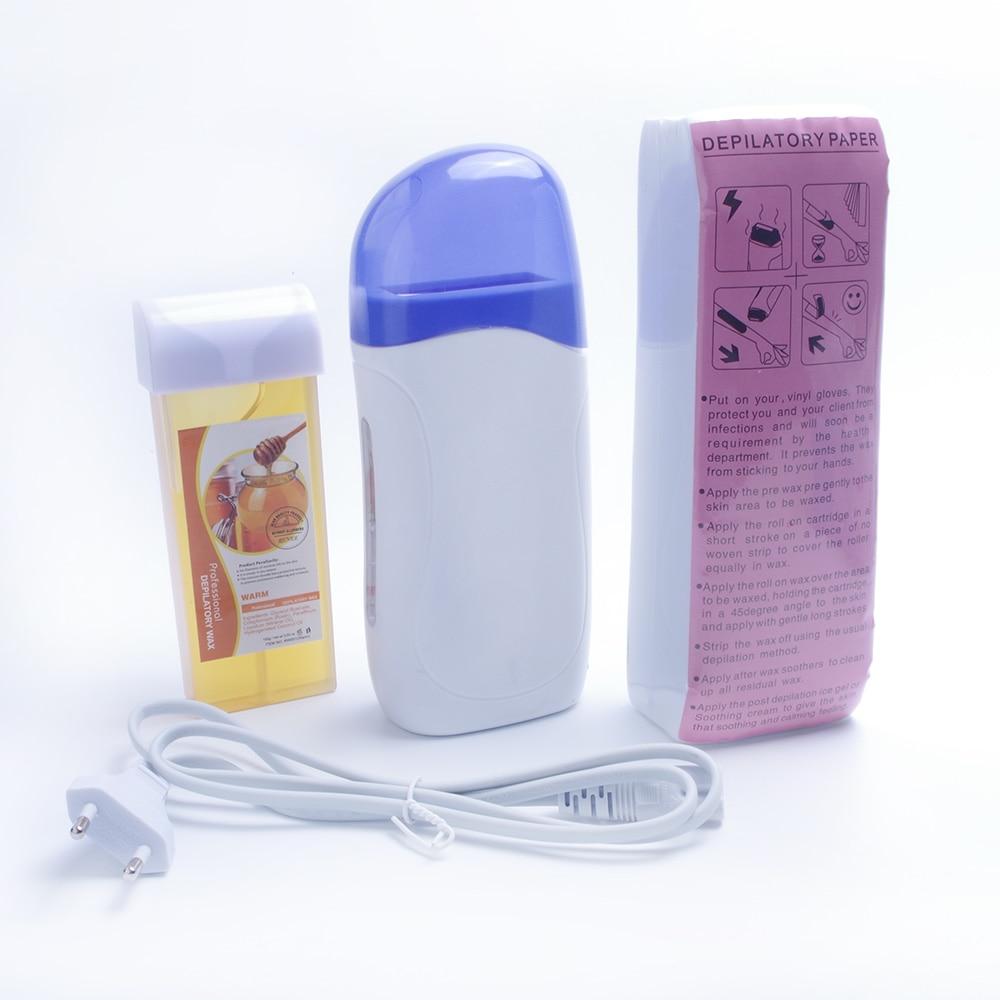 chauffe cire a rouleau depilatoire avec cire rechargeable et papier pour epilation appareil pour epilation fiche ue avec 100 pieces de papier
