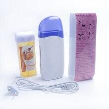 Депиляция рулон на восковой нагреватель с многоразовым воском и воском бумага для удаления волос Набор воском машина ЕС штекер с бумагой 100 шт.