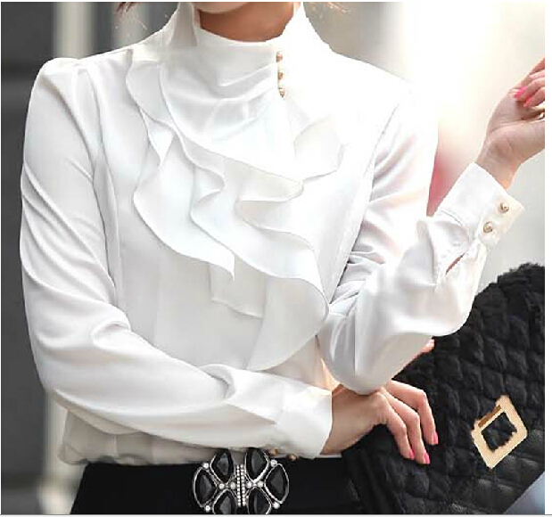 Fashion 2015 Spring ladies tops Plus Size Women's White Long-sleeve OL Professional Stand Collar Basic Shirts ruffle Blouse XXXL