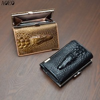 AOEO Mini Coin Purses Holders Cards Cash Money Pocket Short Ladies Lock Small Wallet Female Luxury
