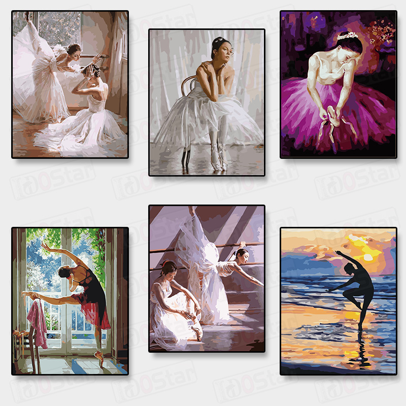 Frameless Ballet Dancer DIY Painting By Numbers Acrylic Paint On Canvas Hand Painted Oil Painting For Home Decor Arts30