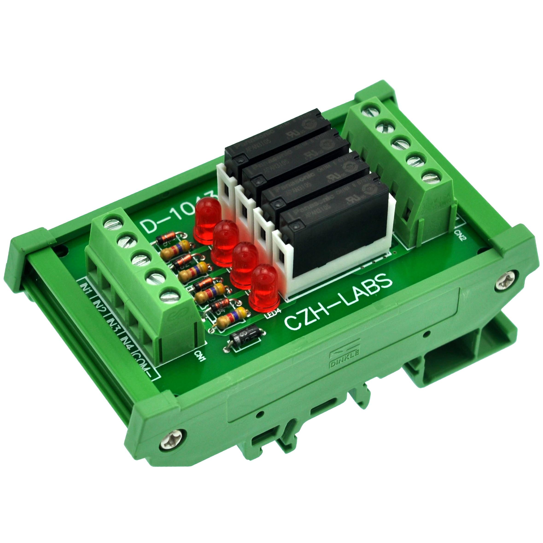 Slim DIN Rail Mount DC5V Source/PNP 4 SPST-NO 5A Power Relay Module,APAN3105