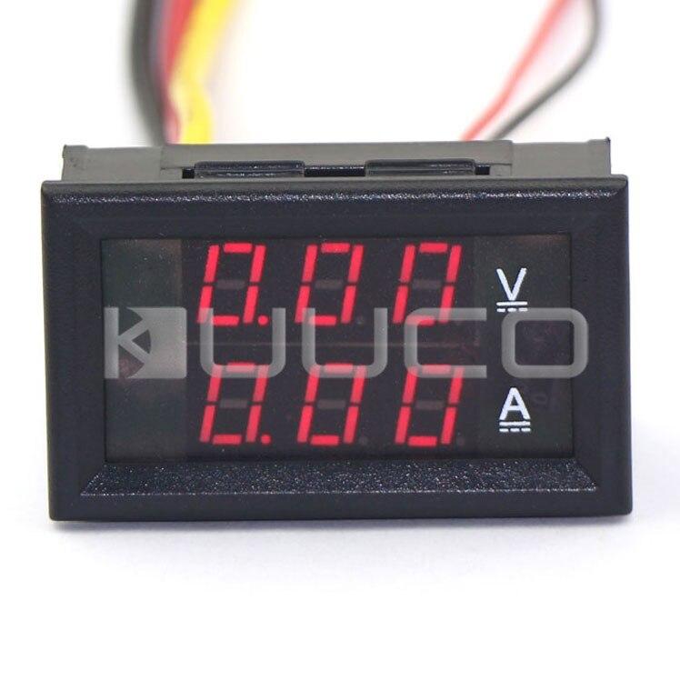 5 PCS/LOT 2in1 Tester DC 0~100V/5A Digital Voltmeter Ammeter Red Led Display Voltage Current Meter DC 12V 24V Panel Meter