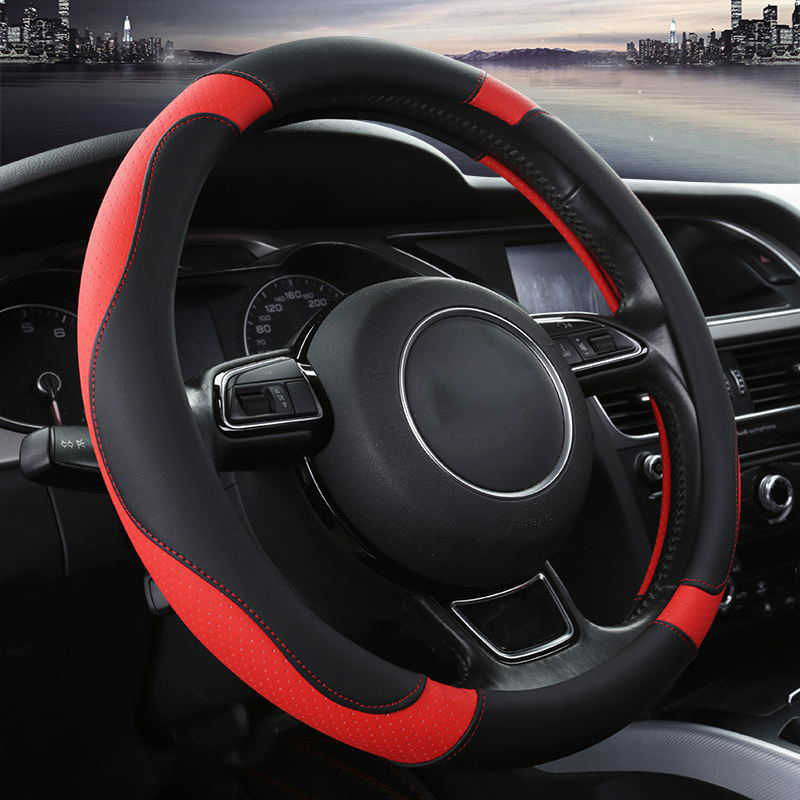 Couvre-volant de voiture universel 38CM couvre-volant en cuir PU Sport de style automobile anti-dérapant accessoires automobiles