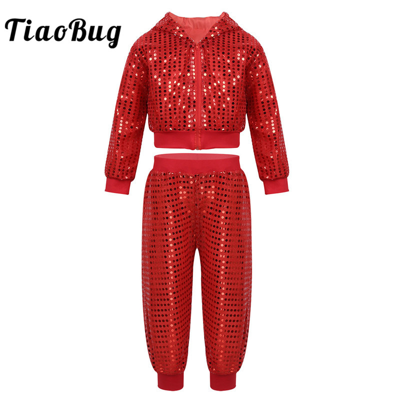 TiaoBug Unisex Kids Teens Hip-hop Stage Jazz Dance Costume Set Boys Girls Shiny Sequins Hooded Top With Pants Street Dancing Set