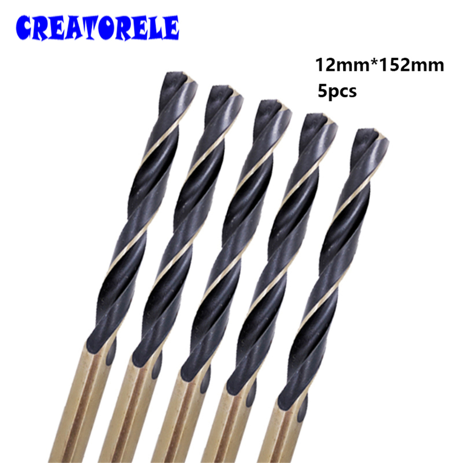 цена на Hot 5pcs/box 12mm bits Straight Shank HSS/High Speed Steel Twist Drill Bit Woodworking Tools For Metal