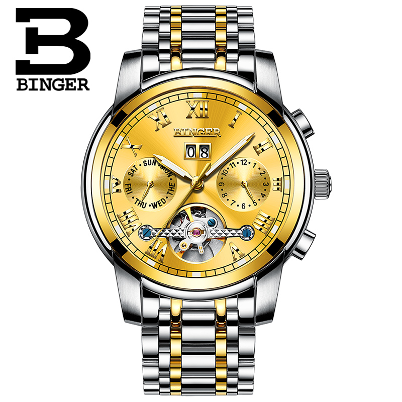 BINGER Gold Tourbillon Multifunction Automatic Mechanical Men Watch Top Brand Luxury Business watch Stainless Steel Case Sport BINGER Gold Tourbillon Multifunction Automatic Mechanical Men Watch Top Brand Luxury Business watch Stainless Steel Case Sport