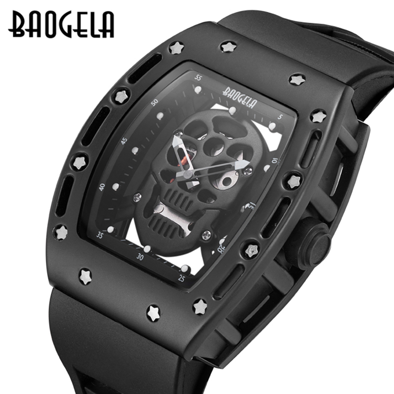 New Luxury Brand Men Watches fashion Hollow Silica gel Skeleton Clock Male Casual Sport Watch Men Quartz-watch Relogio Masculino mens watch top luxury brand fashion hollow clock male casual sport wristwatch men pirate skull style quartz watch reloj homber