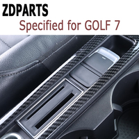 ZDPARTS Carbon Fiber Water Cup Panel Trim Stickers For Volkswagen VW Golf 7 GTI R GTE GTD MK7 2013 16 2017 LHD Accessories