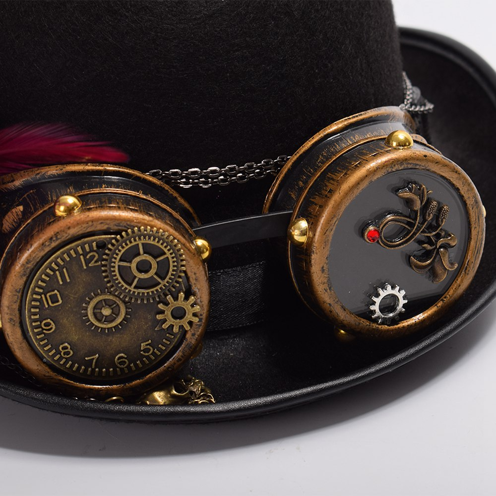 handmade steampunk hat  close-up