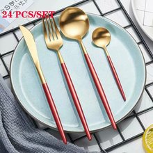 Spklifey Dinnerware Steel Cutlery Set Stainless Knife Fork Spoon 24 PCS