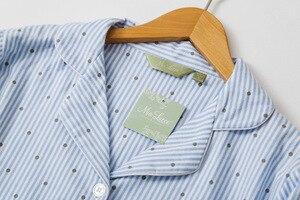 Image 4 - Autumn Stripe Polka Dot Sexy Women Sleepshirts 100% Brushed Cotton Fresh Simple Nightgowns Women Sleepwear Nightdress Nightwear