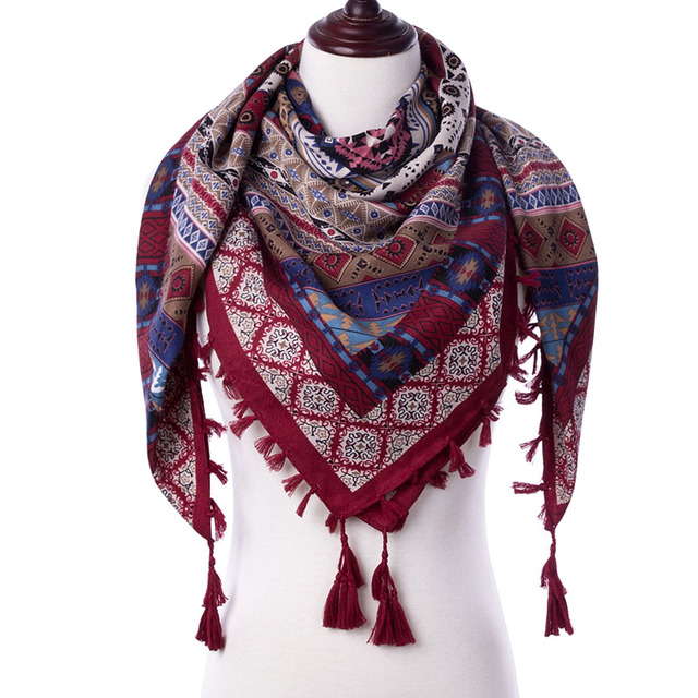 2017 New Fashion Warm Women Scarf Square Scarves Female Wraps Winter Autumn Tassel Printed Girl Shawls Blanket Scarf