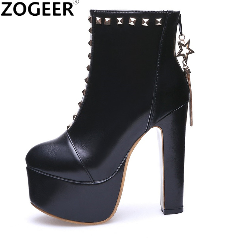 Plus size 48 New Sexy Rivets Women Ankle Boots Fashion Extreme High Heels Motorcycle Boots Platform
